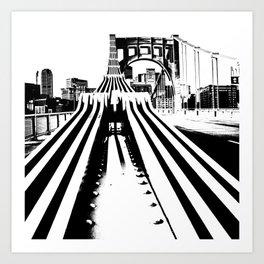 Pittsburgh City Skyline Bridge Pop Art Black White Print Art Print