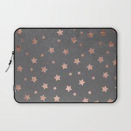 Rose gold Christmas stars geometric pattern grey graphite industrial cement concrete Laptop Sleeve