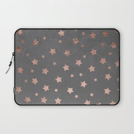Rose gold Christmas stars geometric pattern grey graphite industrial cement concrete Laptop Sleeve