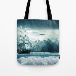 Blue Ocean Ship Storm Clouds Tote Bag