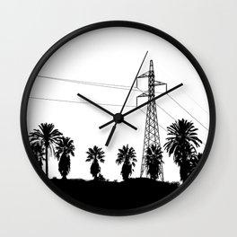 Power Pole Between Palms Wall Clock