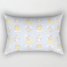 Bunny Moon Star Clouds Nursery Neutral Rectangular Pillow