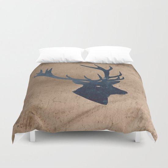 Grunge Deer Stag Simple Illustration for Men Duvet Cover