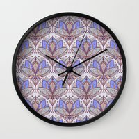 bedding Wall Clocks featuring Art Deco Lotus Rising 2 - sage grey & purple pattern by micklyn