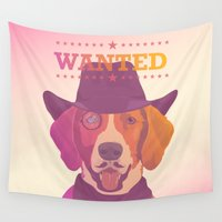 cowboy Wall Tapestries featuring Cowboy dog by Oh wow!