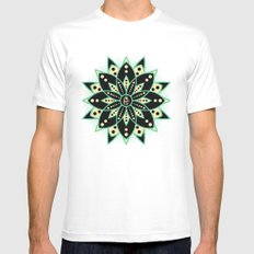 Peace Tile Print Mens Fitted Tee White MEDIUM