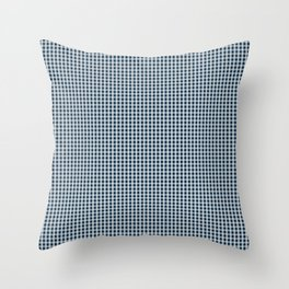 Midnight Blue Gingham Check Throw Pillow