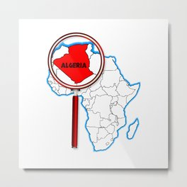 Algeria Under The Magnifying Glass Metal Print