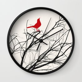 Red Bird on a Branch A533 Wall Clock
