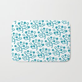 Mid Century Modern Berries Pattern turquoise Bath Mat