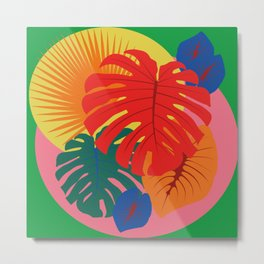 Tropical Red Split Palm Rainbow Metal Print