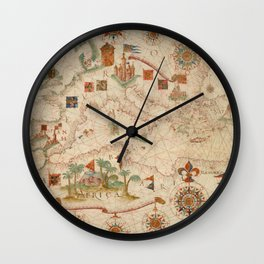 Old Map Of Europe And North Africa Wall Clock