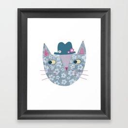 Flowery Cat in a Flowery Hat Framed Art Print
