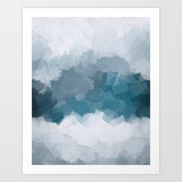 Blue Gray Navy Indigo Abstract Snow Mountain Nature Winter Rustic Painting Art Print Wall Decor  Art Print