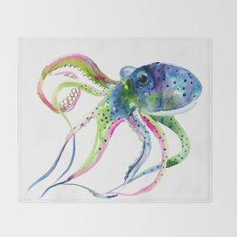 Blue Rainbow Octopus Throw Blanket