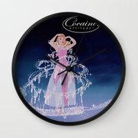 cocaine Wall Clocks featuring Cinderella Cocaine Attitude by Trash Apparel