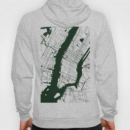New York City White on Green Street Map Hoody