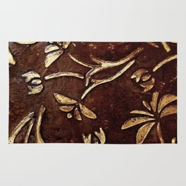 Old West - Embossed and gilded leather - original painting Rug