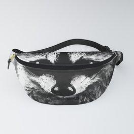 raccoon watercolor splatters black white Fanny Pack