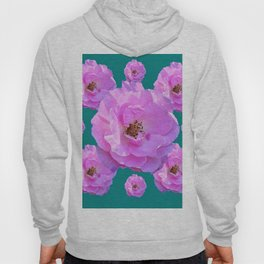 Pink Wild Roses on Teal Color Hoody