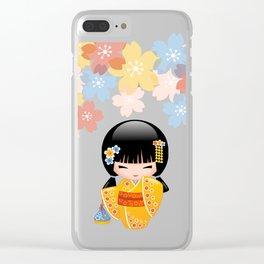 Japanese Summer Kokeshi Doll Clear iPhone Case