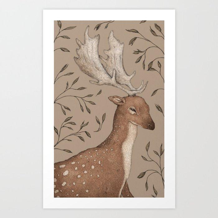 The Fallow Deer and Oats Art Print