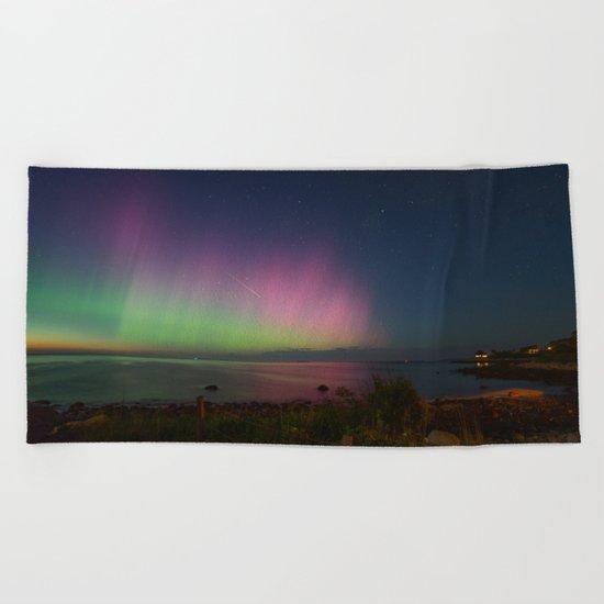 Pink Aurora at Old Garden Beach Beach Towel