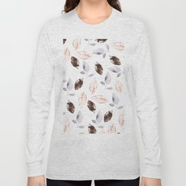 Brown lilac coral watercolor hand painted leaves Long Sleeve T-shirt