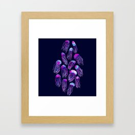 Jellyfish Bloom - dark blue Framed Art Print