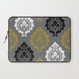 Decorative Damask Pattern BW Gray Gold Laptop Sleeve