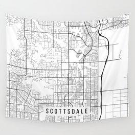 Scottsdale Map, Arizona USA - Black & White Portrait Wall Tapestry