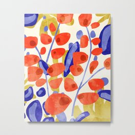 All Good Things Are Wild & Free, Bold Eclectic Abstract Botanical Watercolor Rustic Painting Metal Print