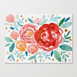 Watercolor roses bouquet - orange and green Canvas Print