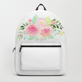 Bouquet OF flowers PINK WITH green - PAINTED - watercolor Backpack