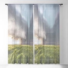 Leoti's Masterpiece - Incredible Storm in Western Kansas Sheer Curtain