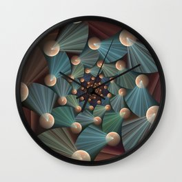 Graphic Design, Modern Fractal Art Pattern Wall Clock