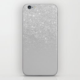 Trendy modern silver ombre grey color block iPhone Skin