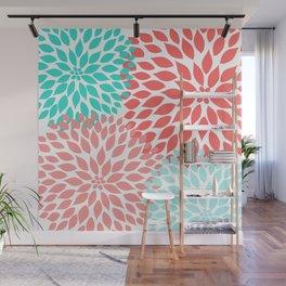 Coral Teal Dahlia Bouquet Wall Mural