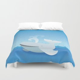 Humpback whale above the ocean waves Duvet Cover