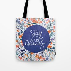 Stay Curious – Navy & Coral Tote Bag