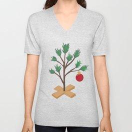 Alone at Christmas - Christmas Tree Unisex V-Neck