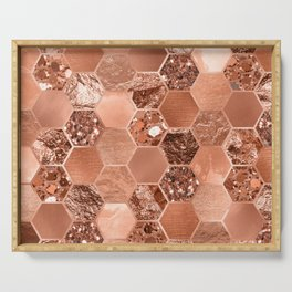 Rose gold hexaglam blonde Serving Tray
