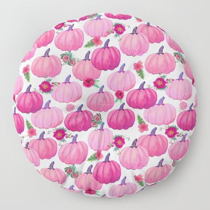 pink pumpkin fall watercolor, Thanksgiving Floor Pillow