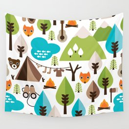 Wild camping trip with fox and wild animals illustration Wall Tapestry