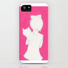 girl holding cat looking over her shoulder iPhone Case