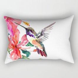Hummingbird and Hibiscus, tropical Hibiscus design Rectangular Pillow