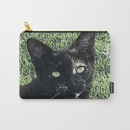 Island Cat Relaxing in Tropical Grass Carry-All Pouch