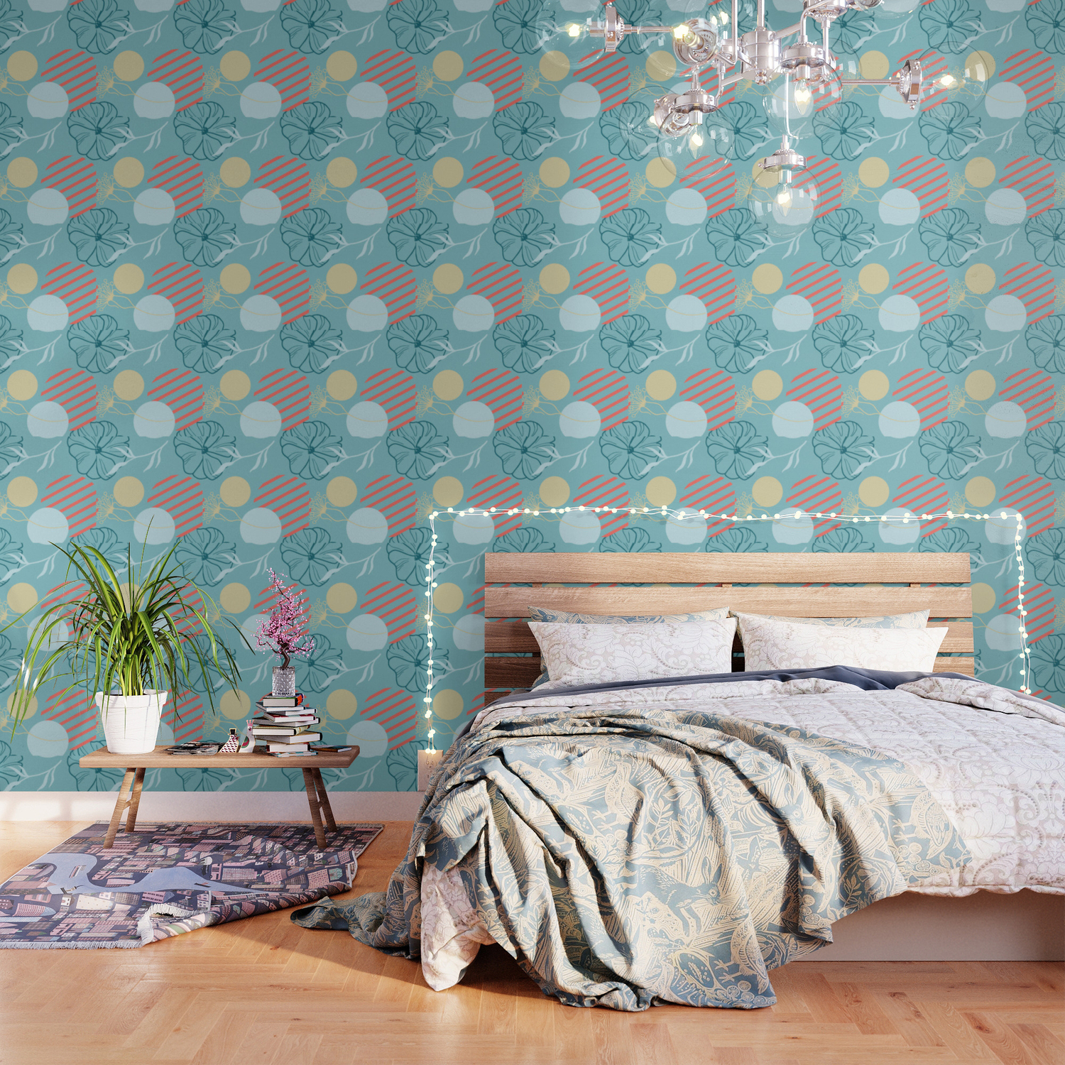 Floral Pattern Living Coral And Aqua Blue Wallpaper By