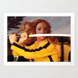 Botticelli's Venus & Beatrix Kiddo in Kill Bill Art Print