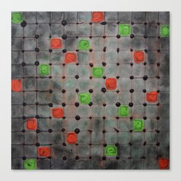 Grid with Green and Orange Highlights Canvas Print